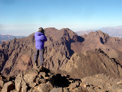 Craig taking photos and scaring all of us on top of the highest peak (Mt Toubkal, 4167m) in North Africa