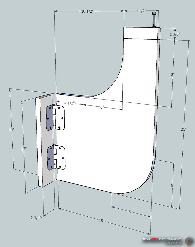 Illustrated Isometric View of Hinged Wing Support for Folding, Rolling Chop Saw Stand