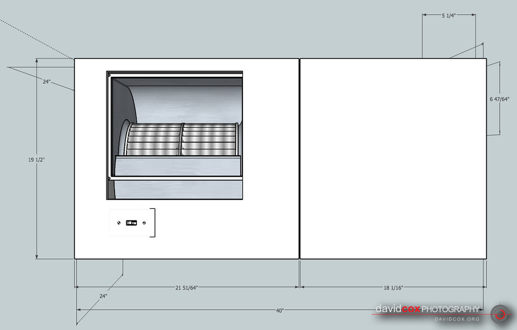 Front shop drawing of shop-built 3-stage air cleaner filter