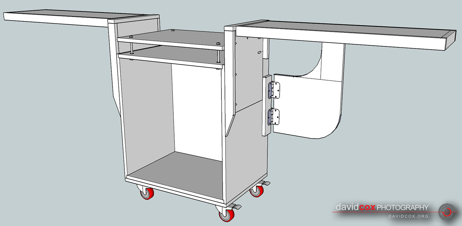 Illustrated Isometric View of Rolling Chop Saw Stand