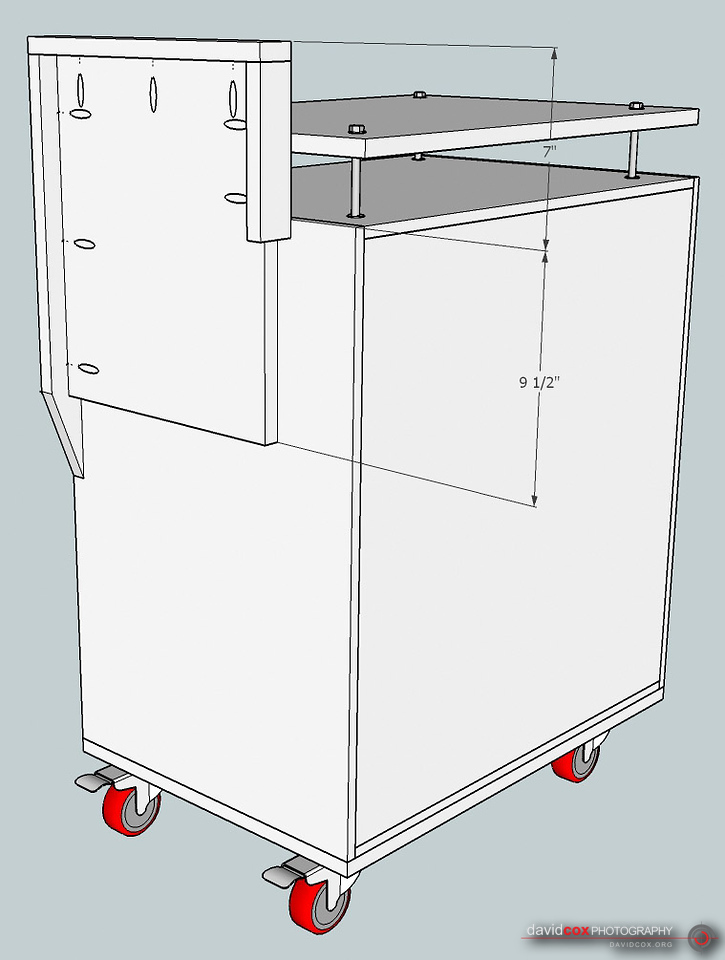 Illustrated Isometric View of Wing Riser Mounted on Case of Folding, Rolling Miter Saw Stand