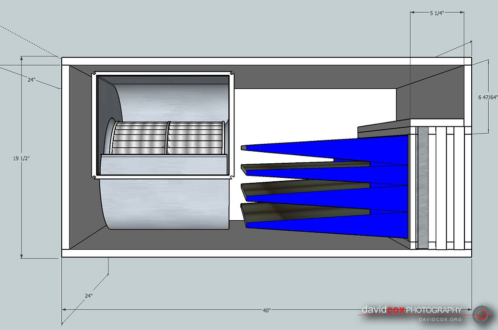 Front Section shop drawing of shop-built 3-stage air cleaner filter