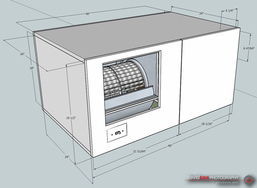 Isometric Shop Drawing of shop-built 3-stage air cleaner filter