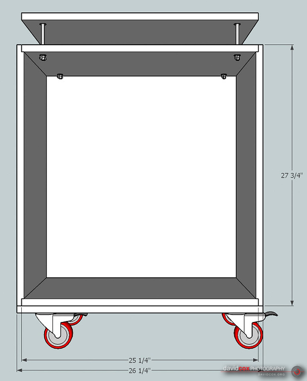 Illustrated Front View of Case of Folding, Rolling Chop Saw Stand
