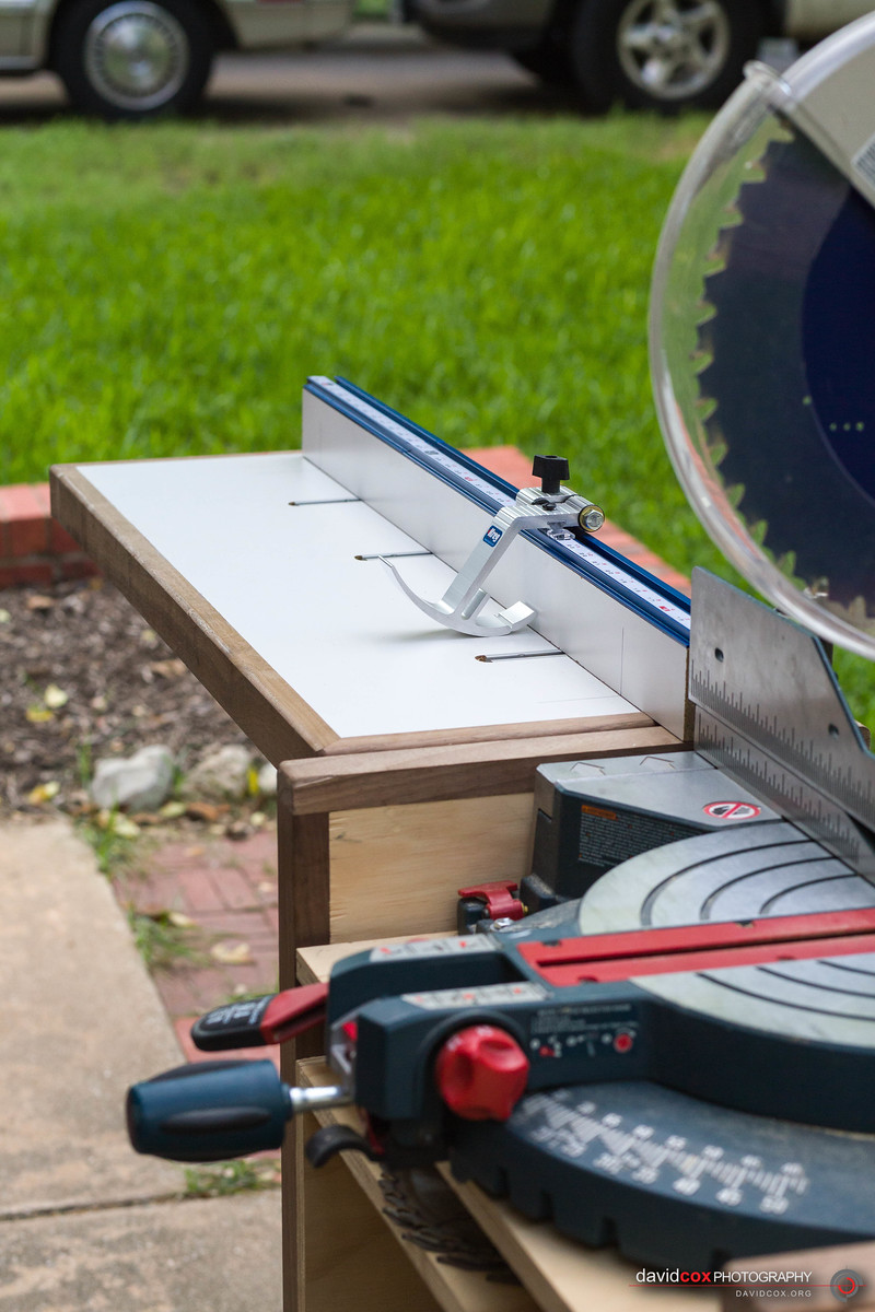 Front View Detail of Fence Assembly on Folding Wing on Rolling Chop Saw Stand with Bosch 12