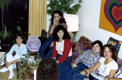 Party at Ginny Dever Lovitz's apartment: L to R: Kathy Begnino, Young assistant from South Philadelphia, Marissa Adamo, Andrea Briskin, Lorraine Lopresto and Kim McConnell
