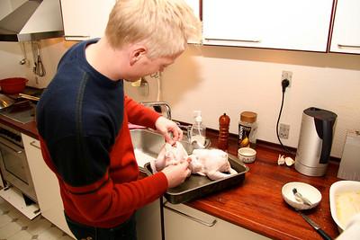 Yiannis and Panos 2005 Søren preparing a lemon chicken