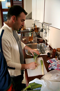 Yiannis and Panos 2005 Yiannis and preparing a leek pie