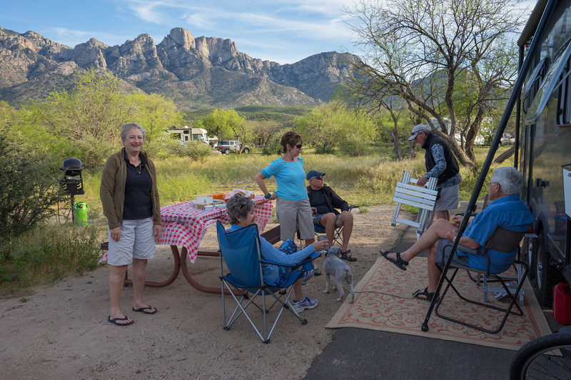 Cher, Sharon, Marsha, Dick, Bob and Charlie at Marsha and Charlie's campsite at Catalina State Park.