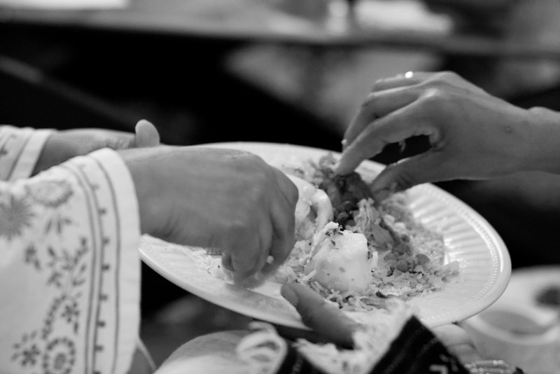 The traditional way to eat Ethiopian food. Forks and knives are overrated anyways.
