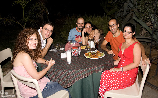 Everyone at the table - From right to left: Inbal, Yuval, Dana, Shahar, Me (!) and Moran.