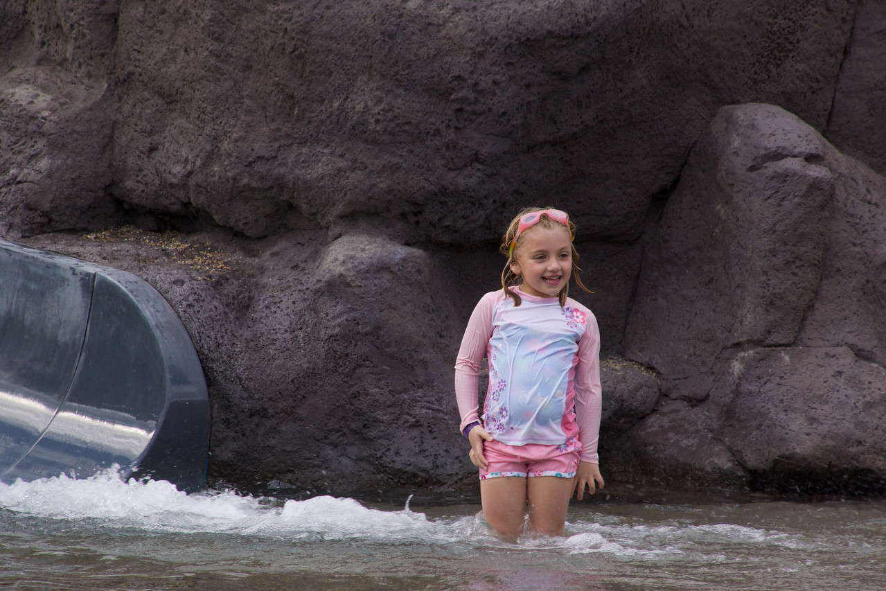 claire enjoying the water slide