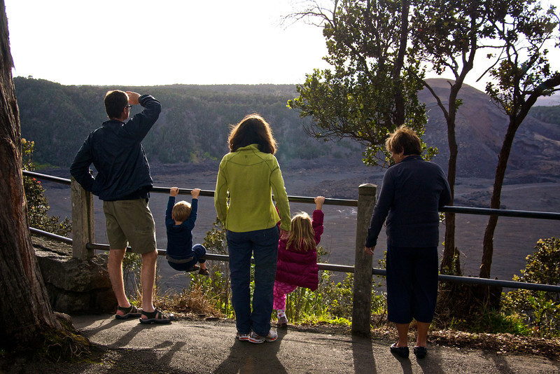 Paul Luc Kristen Claire and Mary Kay overlooking crater Volcanos National Park
