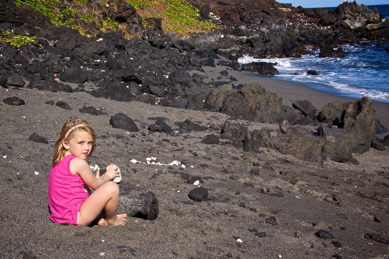 Claire on black sand beach