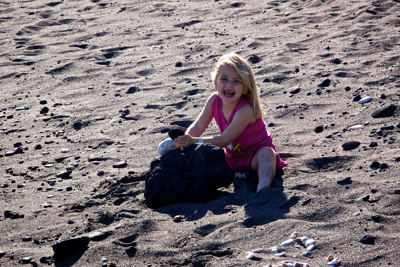 Claire on black sand beach