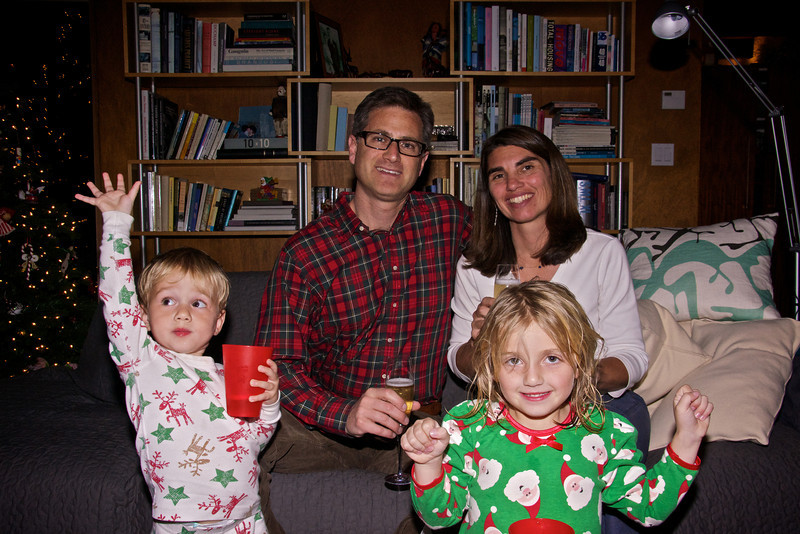 Luc Paul Kristen and Claire celebrating Christmas eve