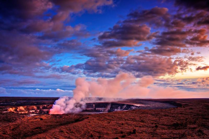 Overlooking Kilauea at dusk