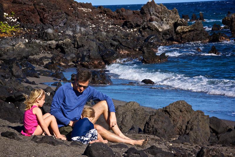 Claire Paul Luc black sand beach overlooking Honokapoe Bay