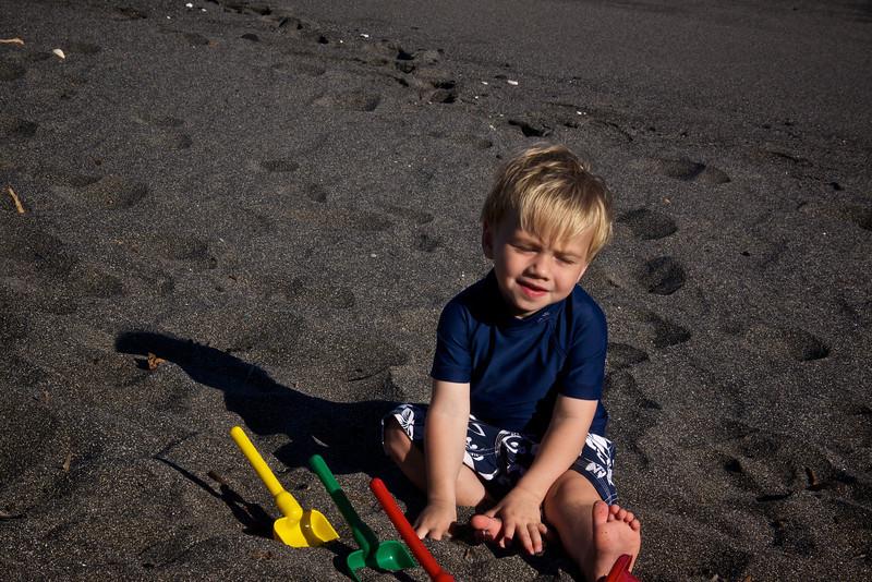 Luc on black sand beach
