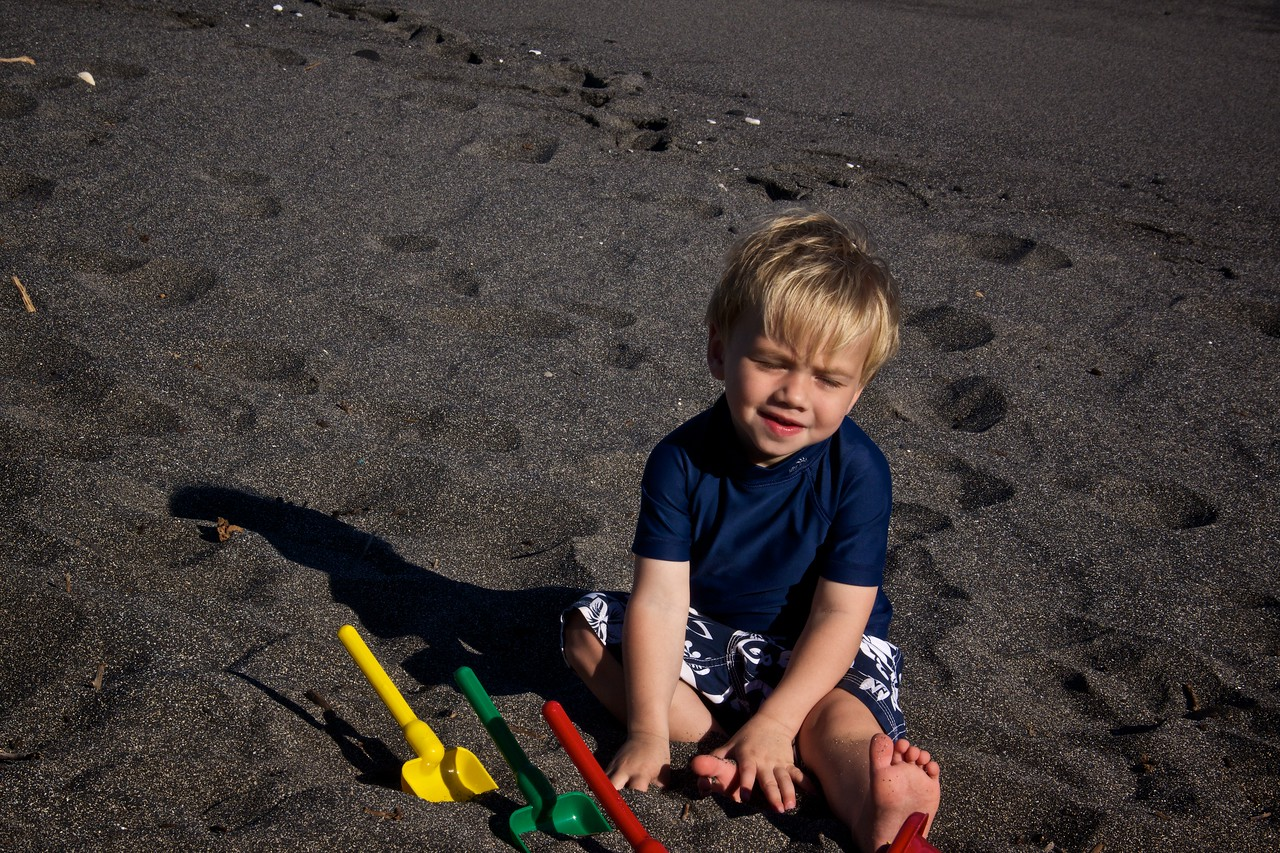 Luc on black sand beach
