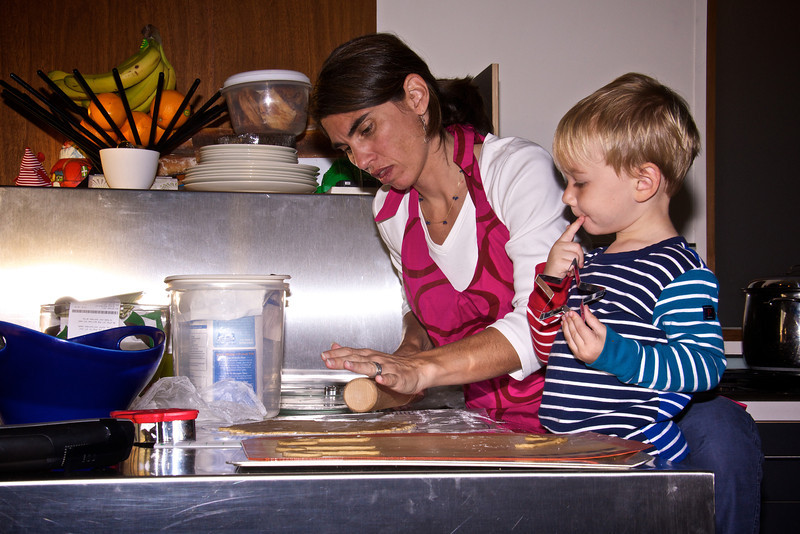 Kristen and Luc making Christmas cookies