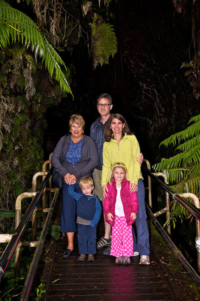 Mary Kay Luc Paul Kristen and Claire at entrance to lava tube Volcanos National Park