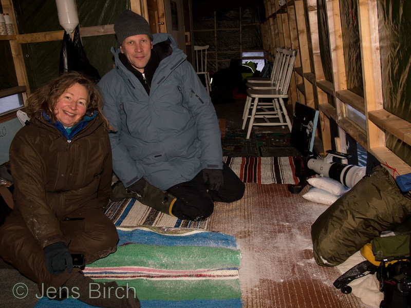Cathrine S. Spickerud and Brutus Östling in the floating hide in Båtsfjord. Varanger peninsula, Norway, March 2013.