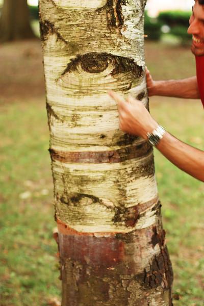 Grant poking the tree's eye!