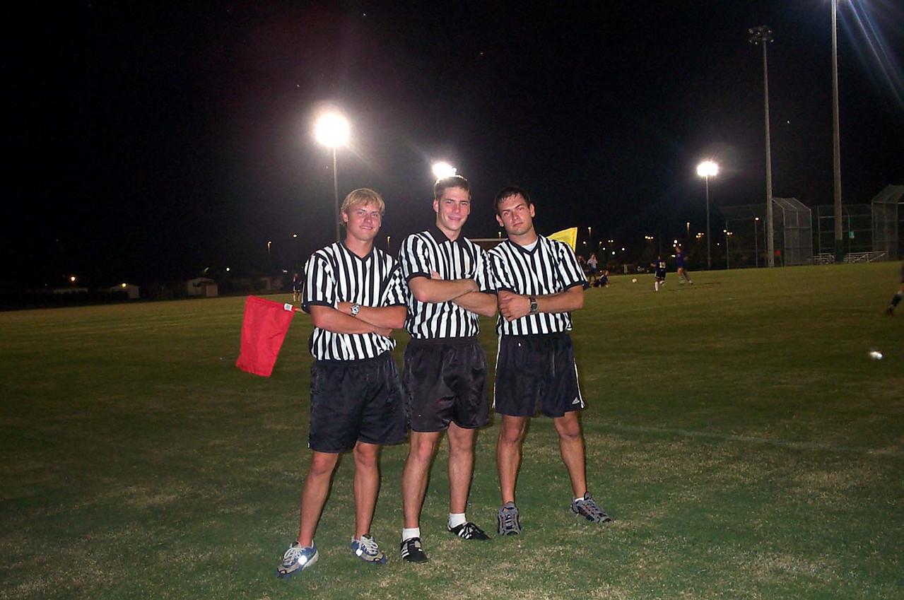 9/21/2001  JG Ferguson, Chris Kennedy, Jon Deutsch officiating a Women's Club Soccer match.