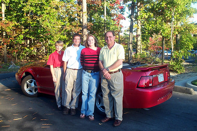 10/14/2001 Family Photo with the mustang.  Pat Deutsch, Jon Deutsch, Cheryl Deutsch, Stan Deutsch.