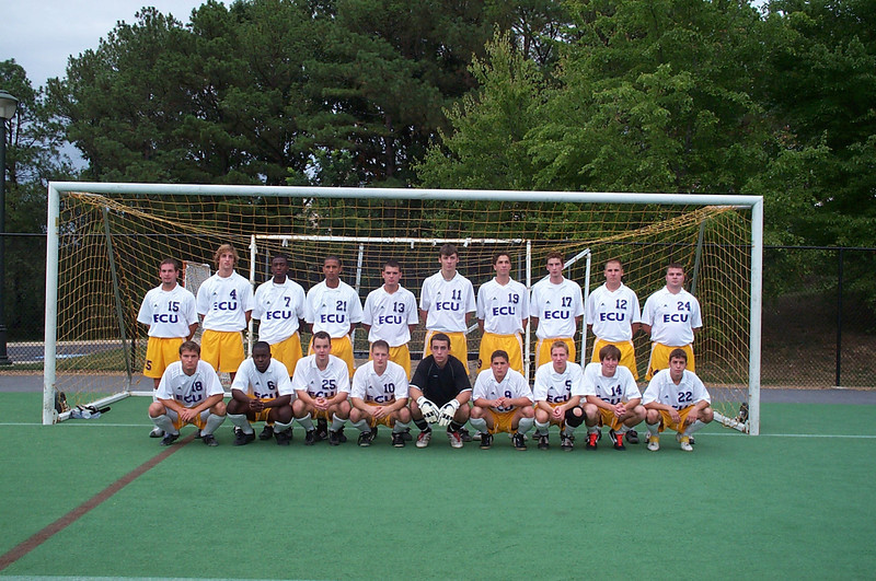 9/21/2002 ECU Club Soccer at James Madison University.<br /> <br /> Jon Deutsch, Chris Turnbull, Chris Walker, Ahmed, Bill Hancock, Joey Parker, Ty Cunningham, Ryan Scarborough, Kevin Smith, Joey Costa, Garrett Cobb, Brian Kennedy, Matt Clair