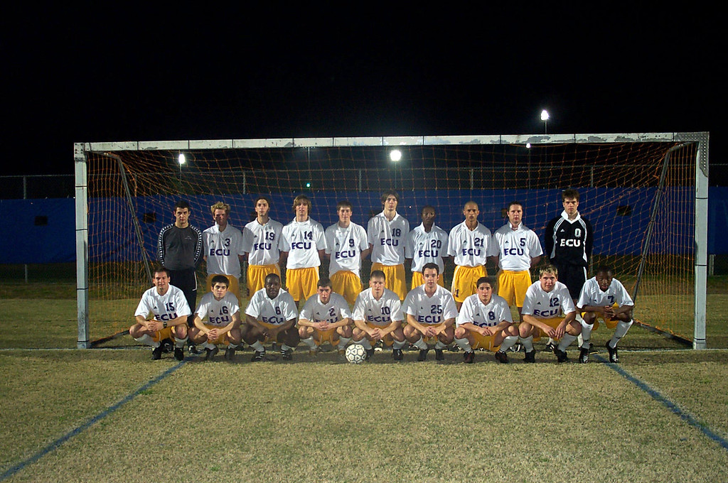 2/21/2003 ECU Club Soccer at University of Florida tournament.<br /> <br /> Jon Deutsch, Garret Cobb, Ahmed, Chris Turnbull, Kevin Smith, Justin Lucas, Bill Hancock, DJ, Joey Parker, Joey Costa, Tyler Mutz, Matt Clair, Matt Hayek, Tyler Cunningham.