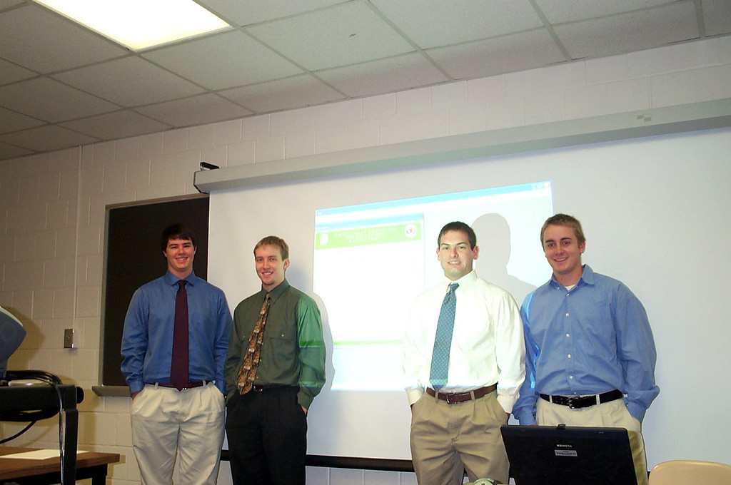 12/11/2003 - Senior year DSCI group presentation... developed an information system to help the City of Greenville organize their cemetery.