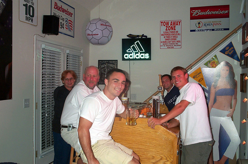 9/5/2003 football weekend at ECU.<br /> <br /> Karon Poole, Donald Poole, Chris Webster, Jon Deutsch and JG Ferguson at the bar.
