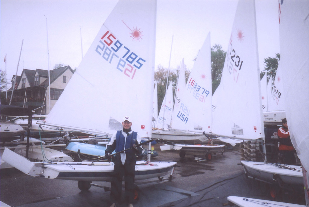 Jon Deutsch sailing the Laser at Severn Sailing Association for the Atlantic Coast Championship.