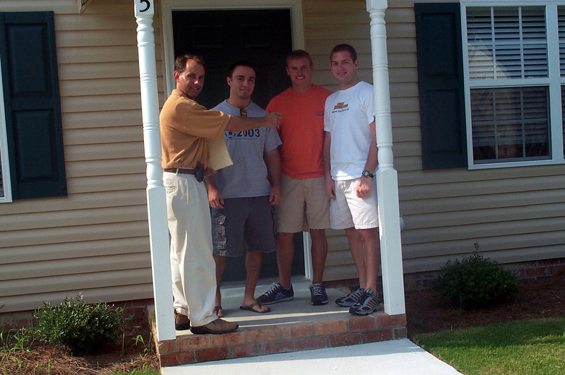 7/18/2003 Chip Little handing us the keys to our house for my senior year.<br /> <br /> Chris Webster, JG Ferguson, Jon Deutsch.
