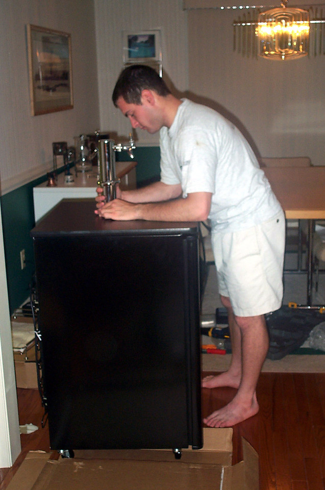Jon Deutsch assembling the kegerator