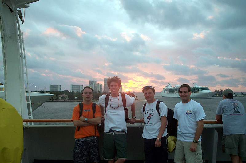 3/15/2004 On the boat to the Bahamas leaving Ft. Lauderdale - Chris Webster, Billy, JG Ferguson, Jon Deutsch.