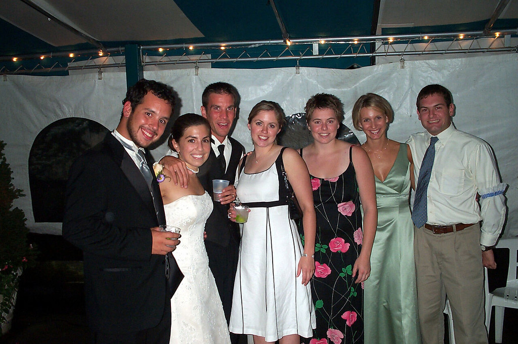 8/13/2004 Laura' Wedding - Steve Espinoza, Laura Towers, Darren Towers, Amanda Sloan, Cheryl Deutsch, Becky Merrill, Jon Deutsch.
