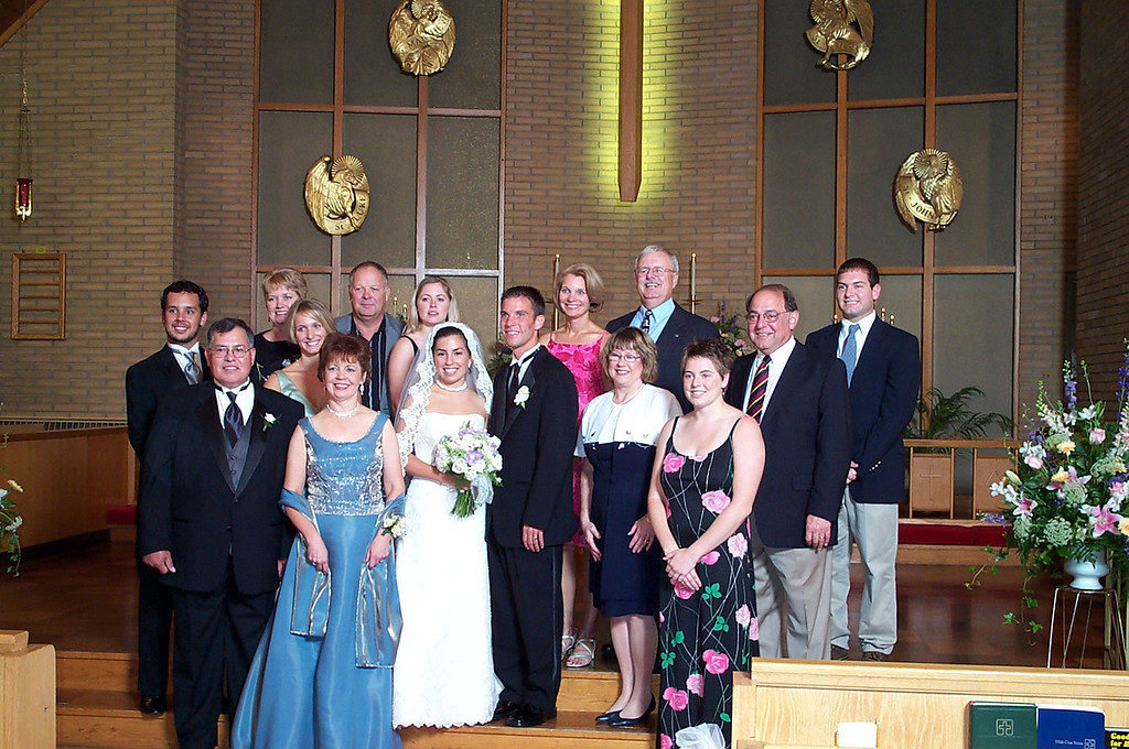 8/13/2004 - Big Chill picture at Laura's Wedding.<br /> <br /> Steve Espinoza, Mike Espinoza, Melody Sloan, Becky Merrill, Gail Espinoza, Jeff Sloan, Amanda Sloan, Laura Towers, Darren Towers, Sue Merrill, Pat Deutsch, Bill Merrill, Cheryl Deutsch, Stan Deutsch, Jon Deutsch.