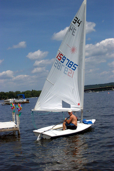 4/7/2004 Jon Deutsch on the Laser on Chautauqua Lake.