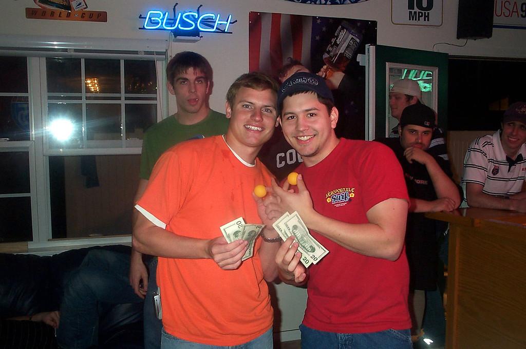 3/6/2004 JG Ferguson and Steve Roberson winning our spring beer pong tournament.