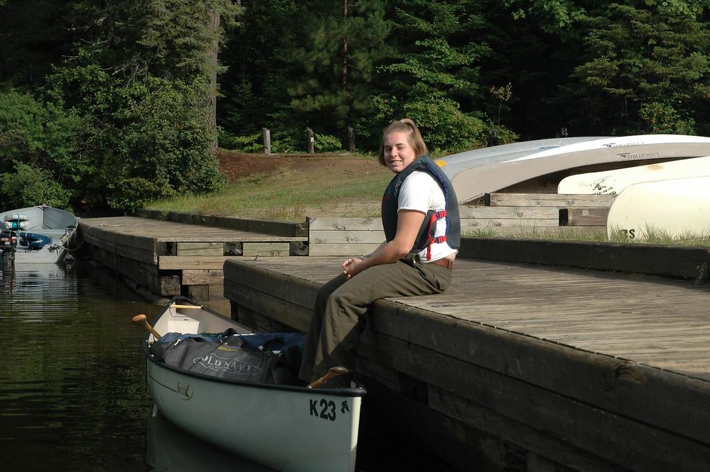 Cheryl and her canoe.
