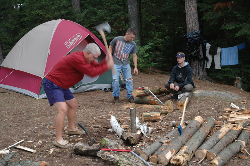Ron, Mark and Scott splitting firewood.