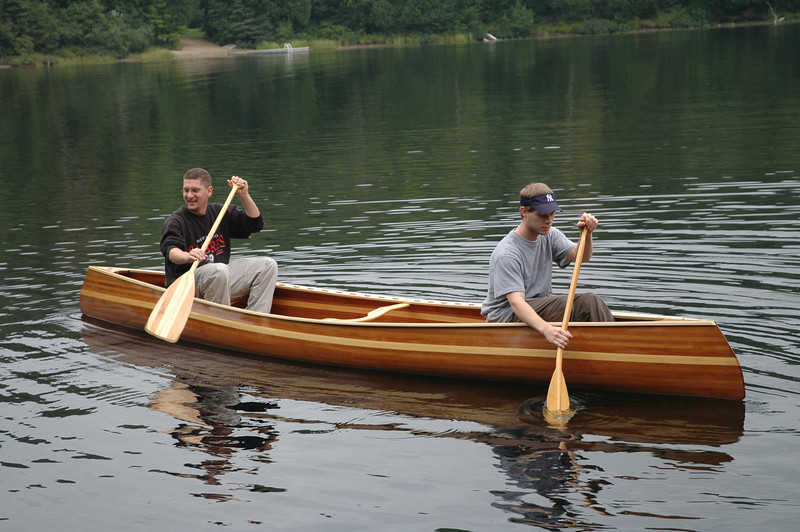 Mark and Scott trying out the new Canoe.