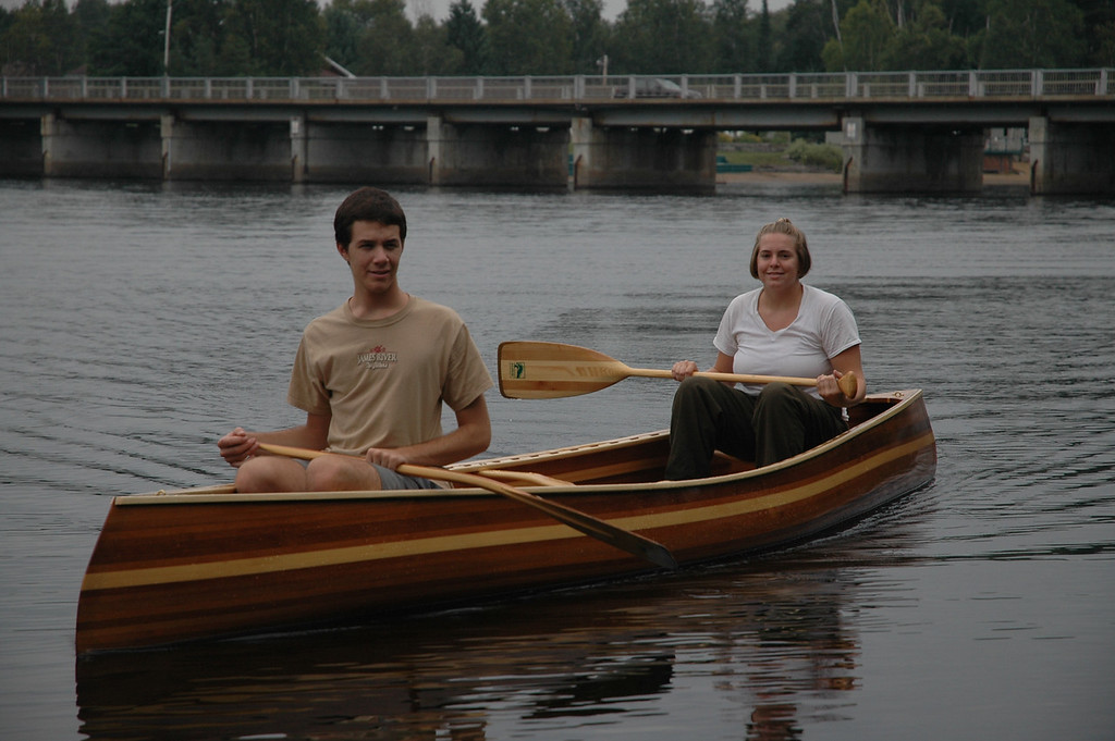 Zack and Cheryl in the new canoe.