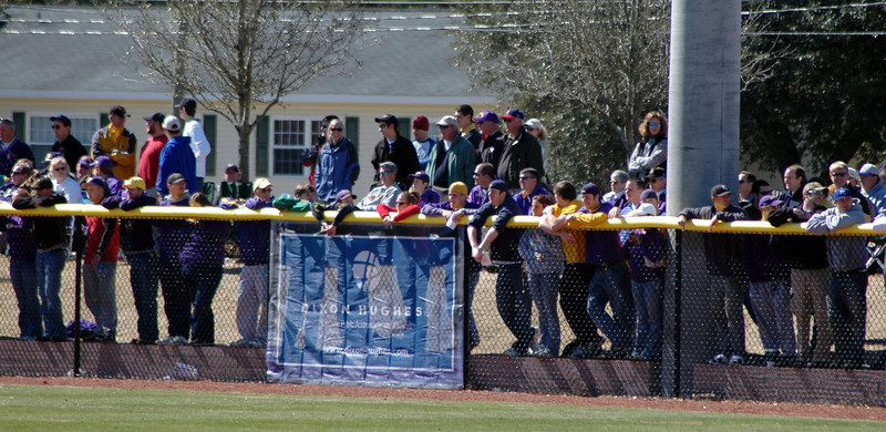 ECU fans lining the left field fence in the jungle.