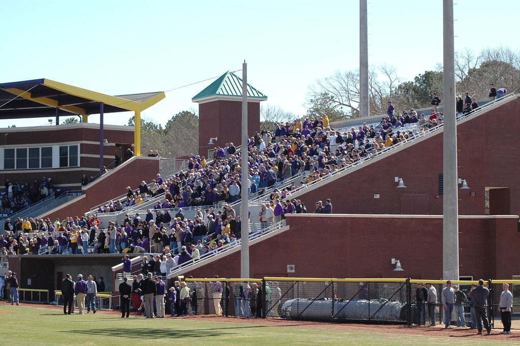 The 3rd base grandstands at Clark-LeClair Stadium.
