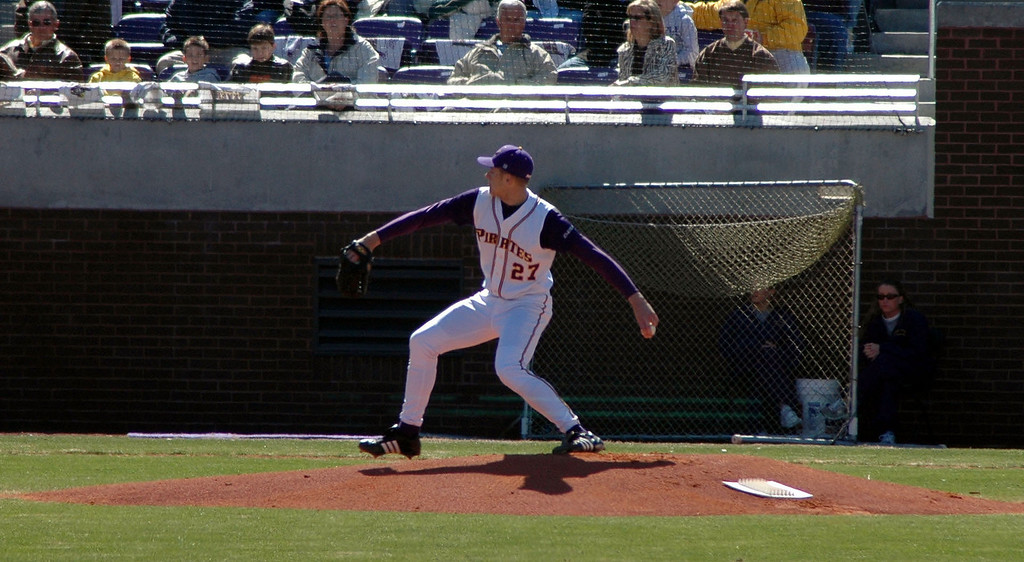 ECU Pitcher Ricky Brooks in the first inning.