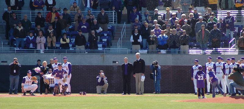 The throwing of the first honorary pitch(es) at Clark-LeClair stadium.